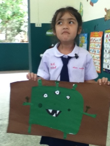 "Ananda, another one of those [I don't have] favorite students made ""Green"", who was my vote for the ""Cutest"" Monster."